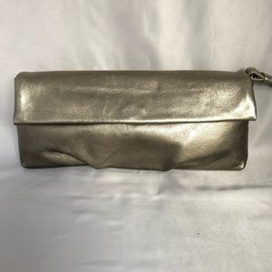 Banana Republic Leather Metallic Gold Wristlet Bag